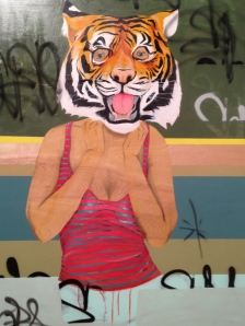 Miguel DonJuan, La Tigre, 2012, mixed media on birch, 4'x3'