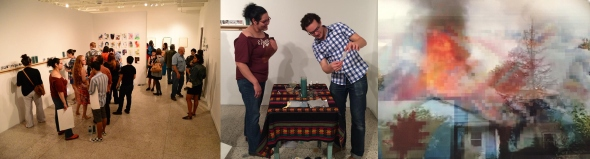 "With Mark Menjivar as he ""fixes"" a candle for me. y Untitled piece by Christie Blizzard"